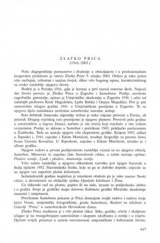 Zlatko Prica (1916.-2003.) : [in memoriam] / Nikola Reiser