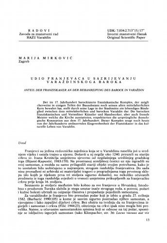 Udio franjevaca u sazrijevanju varaždinskog baroka : Radovi Zavoda za znanstveni rad Varaždin