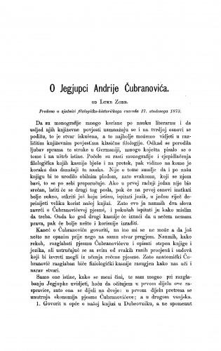 O Jegjupci Andrije čubranovića : RAD