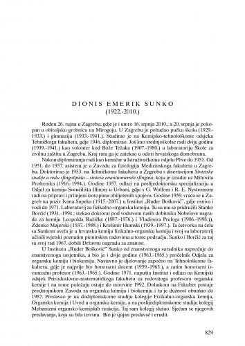 Dionis Emerik Sunko (1922.-2010.) : nekrolog : Ljetopis