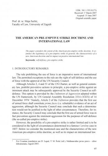 The American pre-emptive strike doctrine and international law : Adrias : zbornik Zavoda za znanstveni i umjetnički rad Hrvatske akademije znanosti i umjetnosti u Splitu