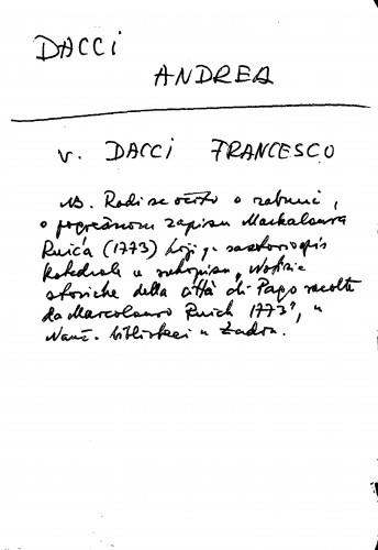 Dacci Andrea v. Dacci Francesco