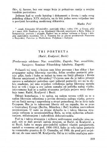 Tri portreta (Predavanje) : Bulletin Zavoda za likovne umjetnosti Jugoslavenske akademije znanosti i umjetnosti