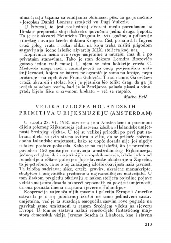 Velika izložba holandskih primitiva u Rijksmuzeju (Amsterdam) : Bulletin Instituta za likovne umjetnosti Jugoslavenske akademije znanosti i umjetnosti