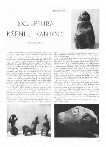 Skulptura Ksenije Kantoci : Bulletin Instituta za likovne umjetnosti Jugoslavenske akademije znanosti i umjetnosti