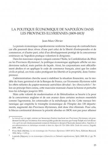 La politique économique de Napoléon dans les Provinces illyriennes, 1809-1813