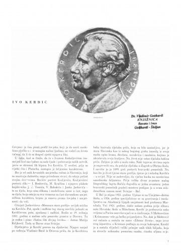 Ivo Kerdić : Bulletin Instituta za likovne umjetnosti Jugoslavenske akademije znanosti i umjetnosti