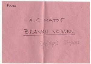 Korespondencija upućena Branku Vodniku