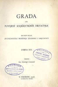 Knj. 13(1938) : Građa za povijest književnosti hrvatske
