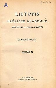 Za godinu 1941./1943. Sv. 54 : Ljetopis