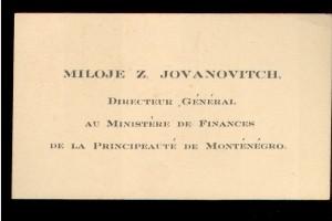 Miloje Z. Jovanovitch deutscher General au Ministre de Financen de la Principaute de Montenegro