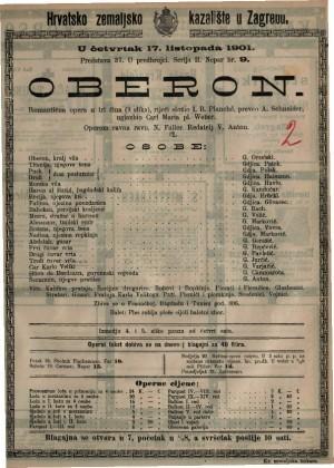 Oberon romantična opera u tri čina (9 slika) / uglazbio Carl Maria pl. weber