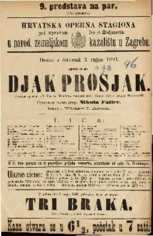 Djak prosjak Komična opereta u 3 čina