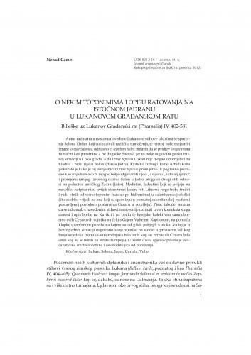 O nekim toponimima i opisu ratovanja na istočnom Jadranu u Lukanovom Građanskom ratu