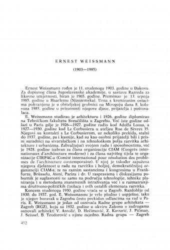 Ernest Weissmann (1903-1985) : [nekrolozi] / Drago Galić