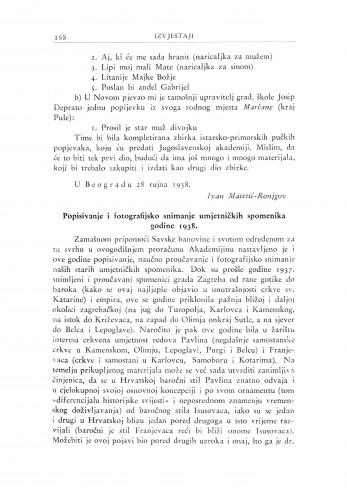 Popisivanje i fotografijsko snimanje umjetničkih spomenika godine 1938 / A. Schneider