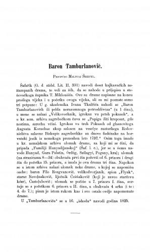 Baron Tamburlanovič : Građa za povijest književnosti hrvatske