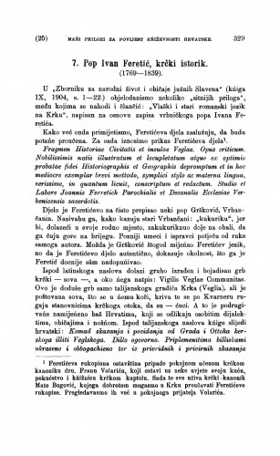 Pop Ivan Feretić, krčki istorik : (1769-1839) : [mańi prilozi za povijest kniževnosti hrvatske] / Ivan Milčetić