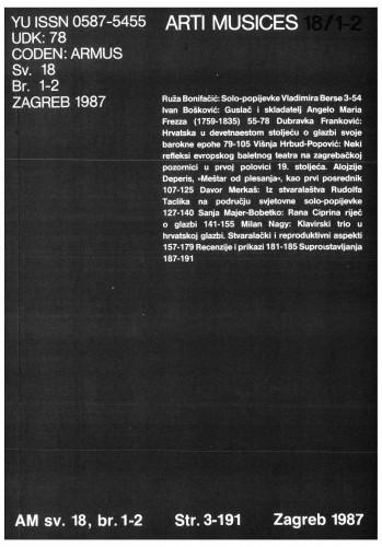 God. 18(1987), br. 1-2 : Arti musices