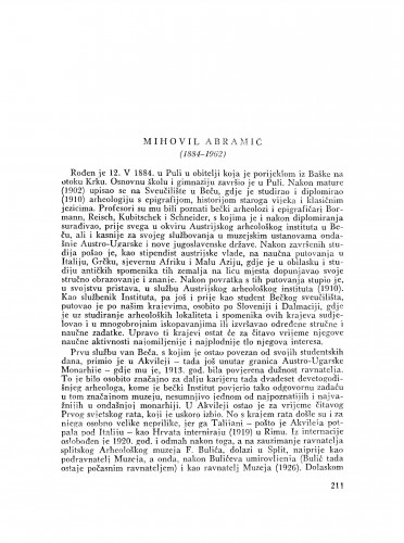 Mihovil Abramić (1884-1962) : [nekrolog] / D. Rendić-Miočević