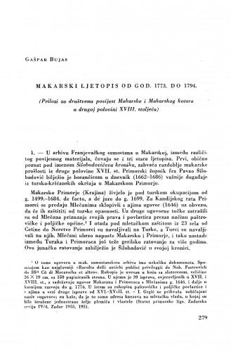 Makarski ljetopis od god. 1773. do 1794. : (prilozi za društvenu povijest Makarske i Makarskog kotara u drugoj polovini XVIII. stoljeća) / Gašpar Bujas