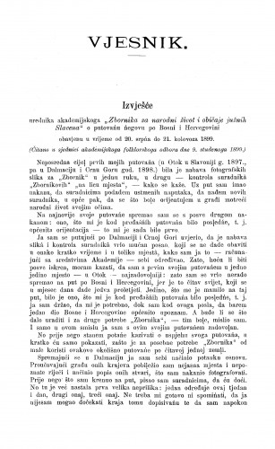 Izvješće o putovańu po Bosni i Hercegovini / A. Radić