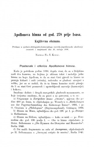 Apollonova himna od god. 278 prije Isusa