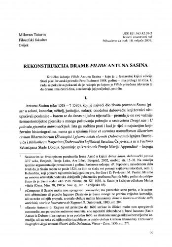 Rekonstrukcija drame Filide Antuna Sasina : Građa za povijest književnosti hrvatske