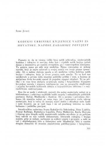 Kodeksi urbinske knjižnice važni za hrvatsku, napose zadarsku povijest