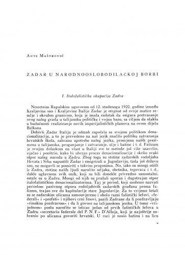 Zadar u narodnooslobodilačkoj borbi