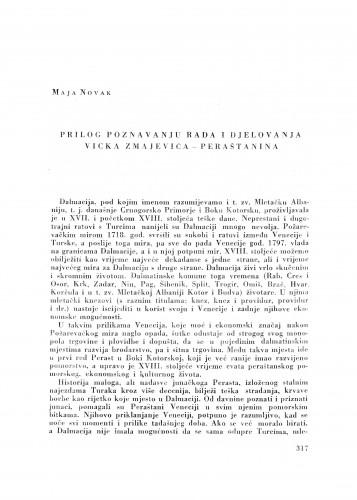 Prilog poznavanju rada i djelovanja Vicka Zmajevića - Peraštanina