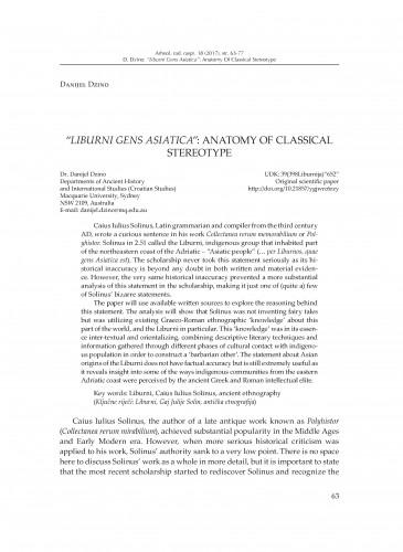 """Liburni gens Adriatica"": Anatomy of Classical Stereotype / Danijel Dzino"