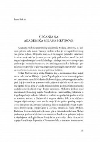 Sjećanja na akademika Milana Meštrova