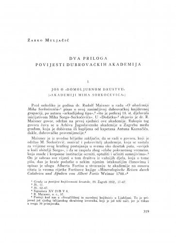 Dva priloga povijesti dubrovačkih akademija