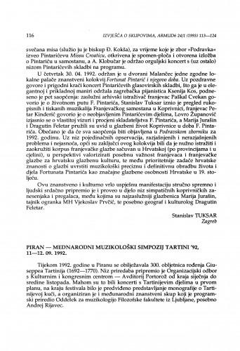 Međunarodni muzikološki simpozij Tartini '92, Piran, 11-12. 09. 1992.