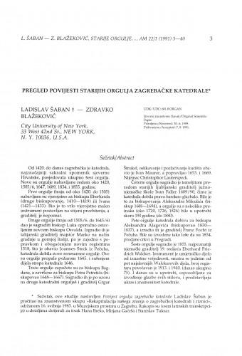 Pregled povijesti starijih orgulja Zagrebačke katedrale