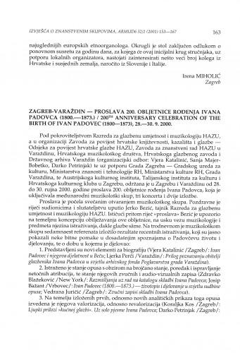 Zagreb-Varaždin - Proslava 200. obljetnice rođenja Ivana Padovca (1800.-1873.)
