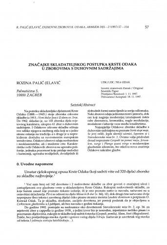 Značajke skladateljskog postupka Krste Odaka u zborovima s duhovnim sadržajima