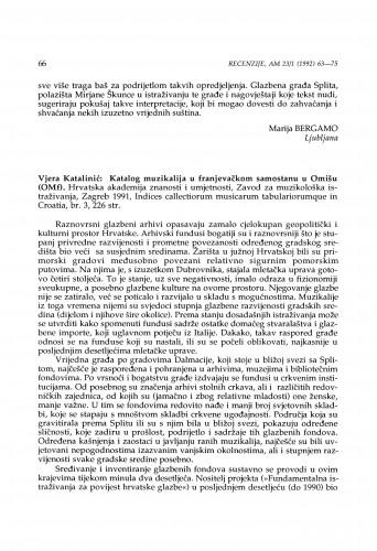 Vjera Katalinić: Katalog muzikalija u franjevačkom samostanu u Omišu, Indices collectiorum musicarum tabulariorumque in Croatia, br. 3 (1991)