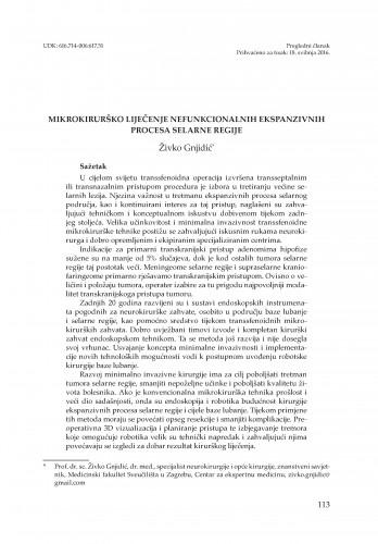 Mikrokirurško liječenje nefunkcionalnih ekspanzivnih procesa selarne regije