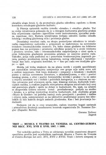 Musica e Teatro da Venezia al Centro-Europa nei secc. XVI, XVII e XVIII, Trst, 1987. i 1988.