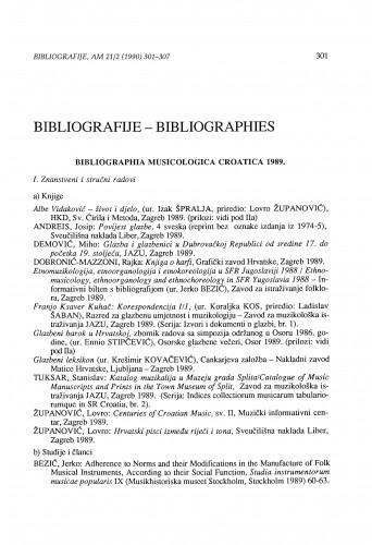 Bibliographia musicologica Croatica 1989.