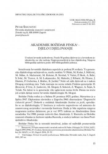 Akademik Božidar Finka - djelo i djelovanje