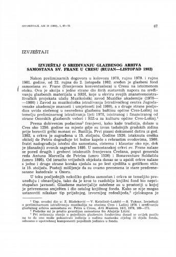 Izvještaj o sređivanju glazbenog arhiva samostana sv. Frane u Cresu (rujan–listopad 1982)