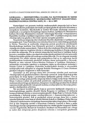 Srednjeveška glasba na Slovenskem in njene evropske vzporednice, Ljubljana, 19.-20. 6. 1997.