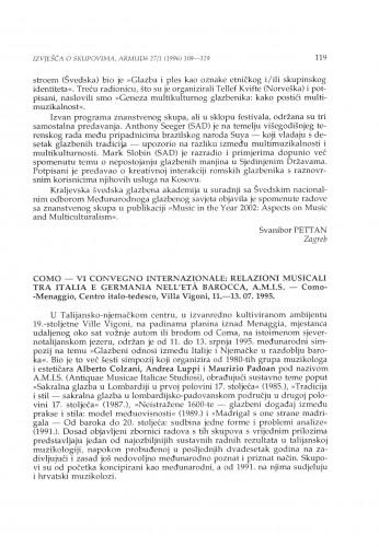 VI Convegno internazionale: Relazioni musicali tra Italia e Germania nell'eta barocca, A.M.I.S., Como-Mertaggio, 11.-13. 07.1995.