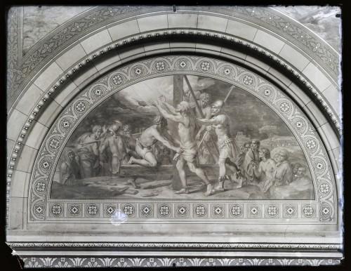 Overbeck, Johann Friedrich (1789)  ; Seitz, Ludovico - Ludwig (1844) : Katedrala sv. Petra (Đakovo) : Smrt svetog  Petra, freska u luneti na zidu transepta [C. Angerer & Göschl  ]