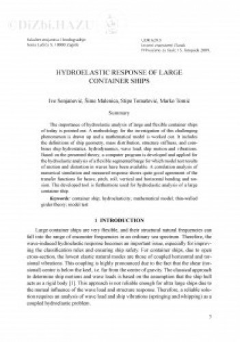 Hydroelastic response of large container ships