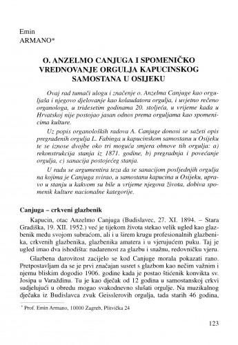 O. Anzelmo Canjuga i spomeničko vrednovanje orgulja kapucinskog samostana u Osijeku