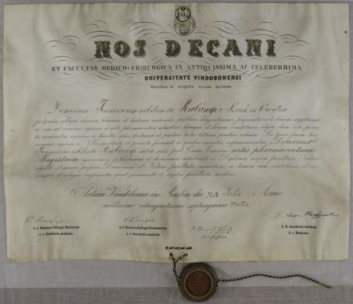 Diploma magistra farmacije Franje Kubanyija